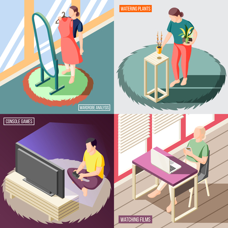 Weekend at home isometric concept people during wardrobe analysis watering plants watching films games isolated vector illustration Stock Illustratie
