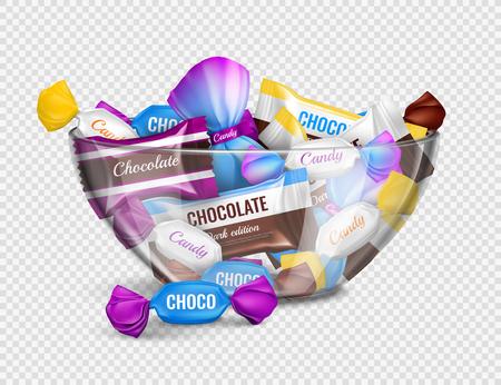 Caramelos de chocolate surtidos en envoltorios de papel de aluminio en un tazón de vidrio, composición publicitaria realista contra la ilustración de vector de fondo transparente Ilustración de vector