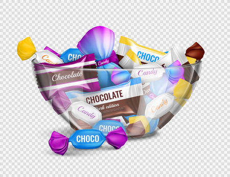 Assorted chocolate candies in foil wrappings in glass bowl realistic advertising composition against transparent background vector illustration