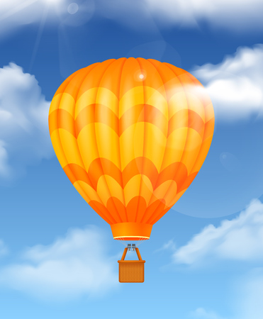 Baloon in the sky realistic composition with air travel symbols vector illustration 向量圖像