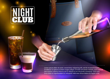 Male bartender making cocktails in night club realistic vector illustration