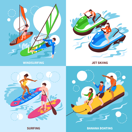 Water sport 2x2 design concept set of windsurfing jet skiing banana boating and surfing square icons isometric vector illustration