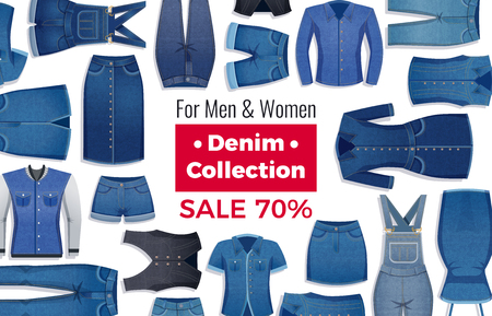 Advertising layout of sale with discount of denim clothing on white background flat vector illustration Illustration