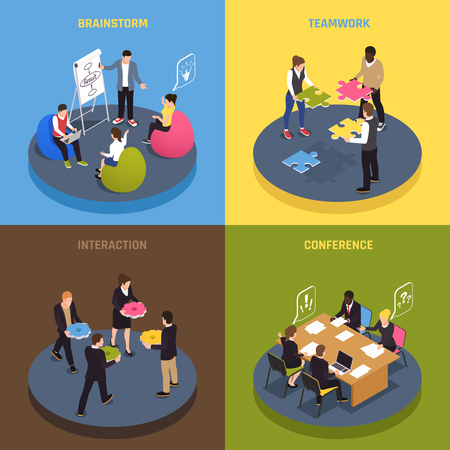 Teamwork collaboration concept 4 isometric icons with employees ideas sharing conference agreements brainstorm interaction commitment vector illustration