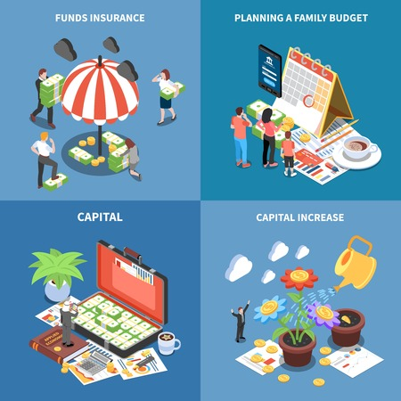 Wealth management isometric design concept with money resources funds insurance planning budget capital increase isolated vector illustration Foto de archivo - 126730382