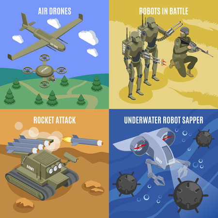 Military robots in battle 2x2 design concept with air drones rocket attacks underwater robot sapper isometric icons vector illustration