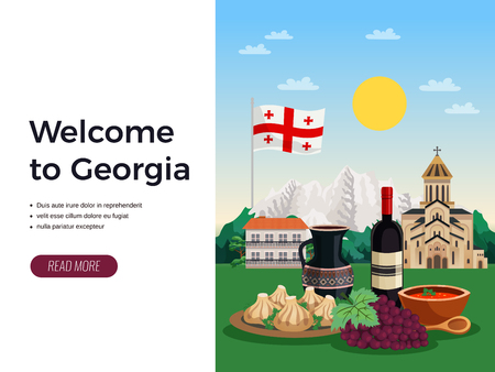 Welcome to georgia travel agency flat web page design with national flag food wine landmarks vector illustration Ilustração