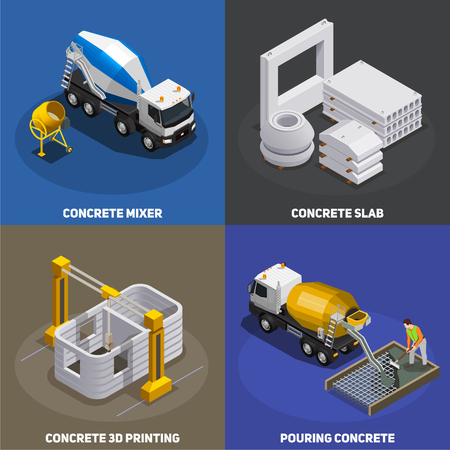 Concrete production isometric 2x2 design concept with transport cement mixing units and industrial facilities with text vector illustration Banque d'images - 126730383