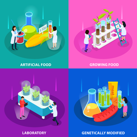 Artificial foods isometric design concept with growing vegetables in laboratory and genetically modified products isolated vector illustration