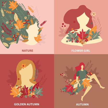 Beauty of autumn nature girls with fall flowers and leaves flat design concept isolated vector illustration