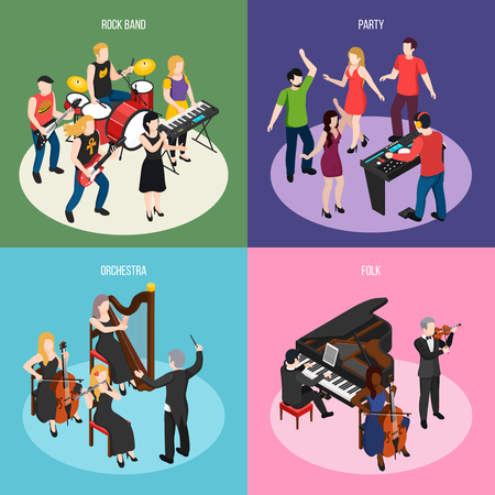 Musicians isometric design concept with rock band orchestra folk music and dancing party isolated vector illustration
