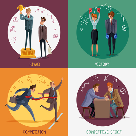 Investor business winner loser characters design concept with doodle style people and sketch pictograms with text vector illustration Illustration