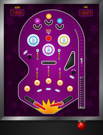 Cartoon and violet pinball composition top view with electronic elements vector illustration