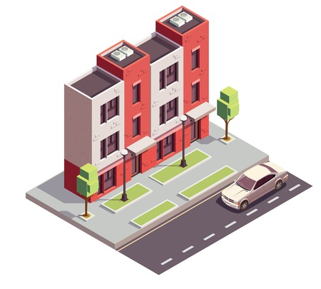 Townhouse buildings isometric composition with view of city street motorway sidewalk and three-storey residential house vector illustration