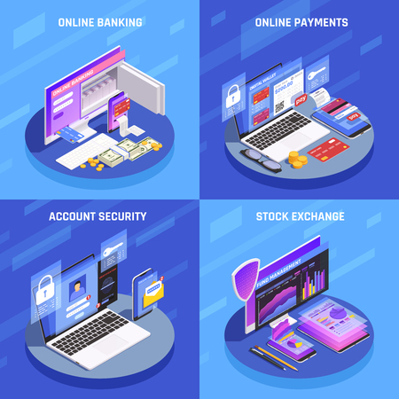 Internet banking 4 isometric icons square concept with account security online payments stock exchange display vector illustration Ilustração Vetorial
