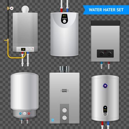 Realistyczny elektryczny podgrzewacz wody kocioł przezroczysty zestaw ikon z izolowanymi elementami na przezroczystym tle ilustracji wektorowych