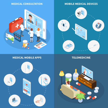 Telemedicine isometric design concept with online consultation medical mobile apps and devices isolated vector illustration