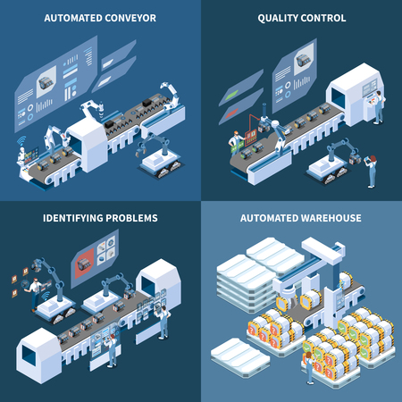 Intelligent manufacturing isometric design concept with robotized conveyor automated warehouse identifying problems quality control isolated vector illustration