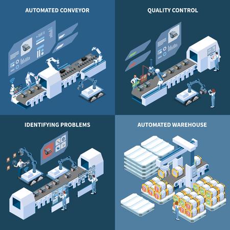 Intelligentes isometrisches Designkonzept für die Fertigung mit automatisiertem Lager mit automatisiertem Förderband, das Probleme bei der Qualitätskontrolle identifiziert, isolierte Vektorillustration