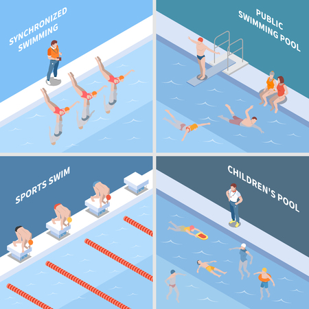 Public pool synchronized swimming sports race and children basin isometric design concept isolated vector illustration Illusztráció