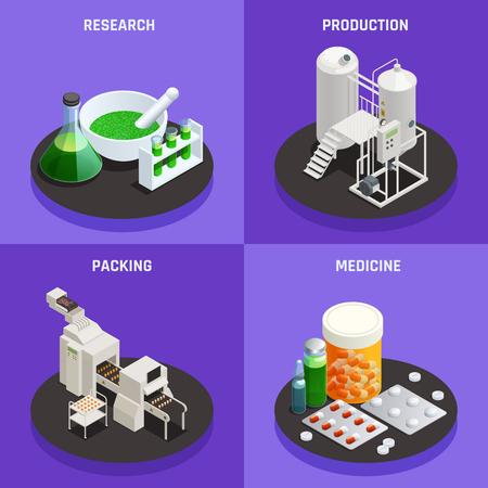 Composición de los iconos isométricos del concepto de tecnologías innovadoras de la industria farmacéutica 4 con ilustración de vector de medicina de embalaje de producción de investigación científica