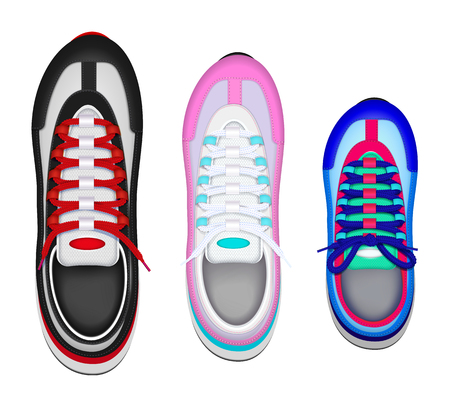 Colorful family sport shoes realistic top view set with father mother kid left foot sneaker vector illustration Stock Illustratie