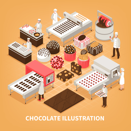 Chocolate manufacture vector illustration with people controlling production process and set of handmade designed sweet goods Standard-Bild - 114196688