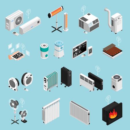 Le icone isometriche degli elementi riscaldanti di raffreddamento del clima domestico astuto hanno messo con l'illustrazione di vettore isolata radiatore di condizione dell'aria del camino