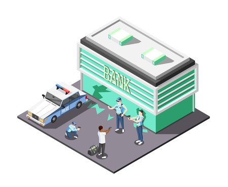 Gangs and police isometric composition with police team involved in arrest of bank robber  vector illustration