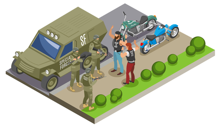 Military special forces during detention of bikers isometric composition with army vehicle and motor cycles vector illustration Ilustração