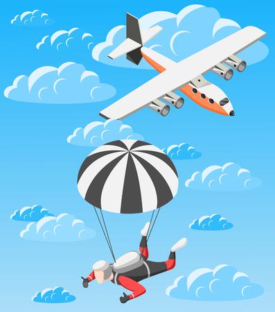 Tema de paracaidismo de fondo isométrico de deportes extremos con imágenes de aviones y paracaidistas volando en nubes ilustración vectorial