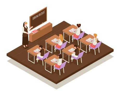 Sunday school isometric composition teacher near board and children at desks during religious lesson vector illustration Illustration