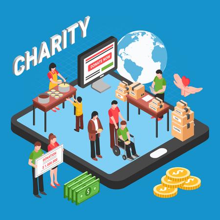 Concept de conception isométrique de charité avec des bénévoles collectant des fonds pour aider les personnes dans le besoin et les sans-abri illustration vectorielle