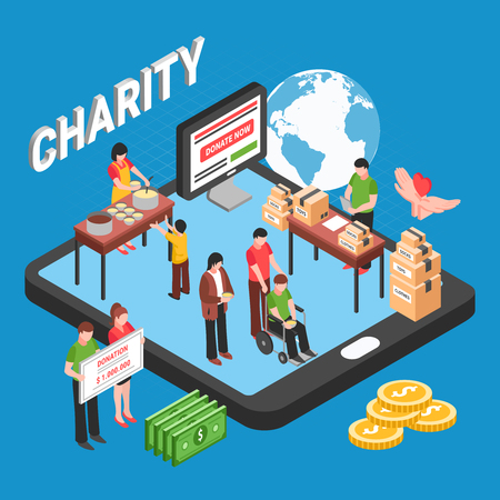 Charity isometric design concept with volunteers collecting funds to help needy and homeless people vector illustration