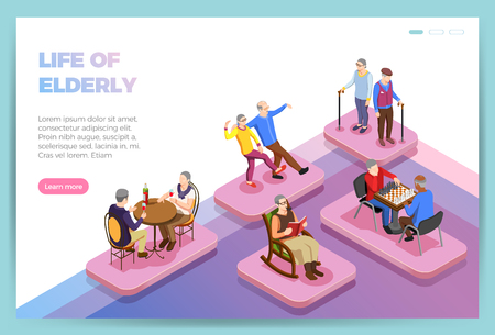 Life of elderly people isometric landing page of web site vector illustration