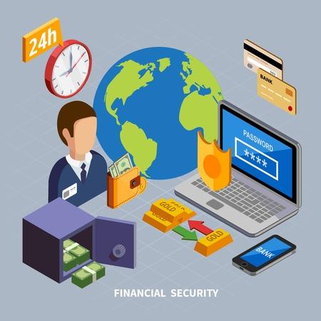 Composition isométrique de la banque d'icônes conceptuelles et de pictogrammes pour les systèmes bancaires avec équipement électronique et illustration vectorielle sûre Vecteurs