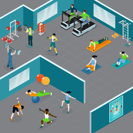 Fitness isometric composition with people doing different kinds of sport and workout in closed gym area vector illustration
