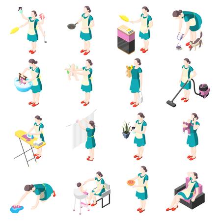 Icônes isométriques de femme au foyer torturée avec des femmes impliquées dans le lavage, la cuisine, le nettoyage, le repassage, le jardinage, la vaisselle, la garde d'enfants, l'illustration vectorielle isolée