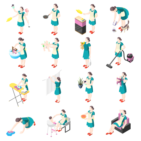 Iconos isométricos de ama de casa torturada con personas femeninas involucradas en el lavado, cocina, limpieza, planchado, jardinería, lavado de platos, niñera, ilustración vectorial aislada