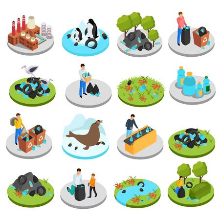 Drastico set di icone isometriche in plastica di sedici immagini isolate con piante di bidoni della spazzatura e illustrazione vettoriale di personaggi umani