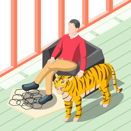 Rich people isometric background with wealthy man sitting in chair patting tiger standing near vector illustration Illustration