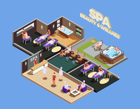 Spa center isometric composition with customers and staff various wellness services on blue background vector illustration Illustration