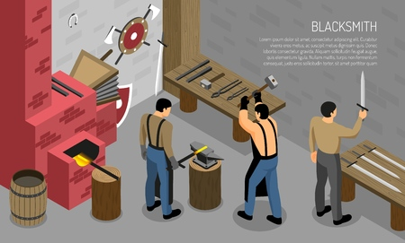 Blacksmith craft isometric composition with masters in work shop interior elements with iron products horizontal vector illustration Çizim