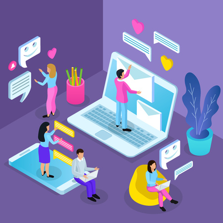 Virtual communication isometric composition with people standing on laptop and tablet messaging opening mail chatting vector illustration