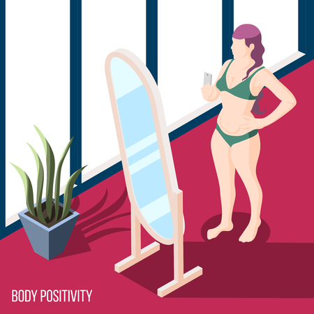 Body positivity movement isometric background with woman in bikini standing at mirror and holding smartphone with camera for selfie vector illustration
