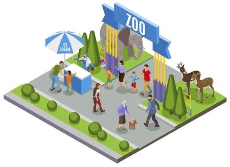 Contatta la composizione isometrica dello zoo con la vista all'aperto del cancello d'ingresso principale dello zoo con l'illustrazione vettoriale del gelato Vettoriali