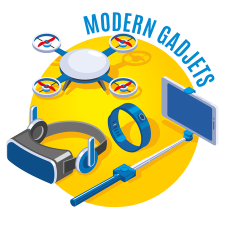 Modern gadgets drone vr glasses smart phone with monopod on yellow round background isometric vector illustration Illustration