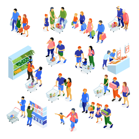 Isometric set of icons with families doing shopping in supermarket isolated on white background 3d vector illustration