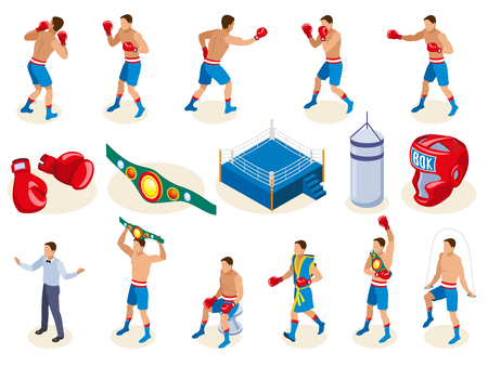 Box isometric icons collection with isolated images of boxing equipment and male human characters of athletes vector illustration