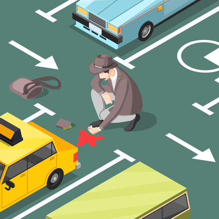 Escena del crimen clásica con detective en busca de manchas de sangre en el asfalto de la ilustración de vector isométrico de estacionamiento de automóviles